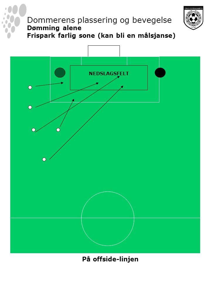 NEDSLAGSFELT Dommerens plassering og bevegelse Dømming alene Frispark farlig sone (kan bli en målsjanse) På offside-linjen