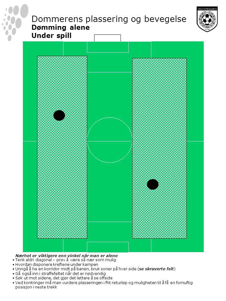 Dommerens plassering og bevegelse Dømming alene Under spill Nærhet er viktigere enn vinkel når man er alene Tenk aldri diagonal – prøv å være så nær som mulig Hvordan disponere kreftene under kampen Unngå å ha en korridor midt på banen, bruk soner på hver side (se skraverte felt) Gå også inn i straffefeltet når det er nødvendig Søk ut mot sidene, det gjør det lettere å se offside Ved kontringer må man vurdere plasseringen i fht returløp og muligheten til å få en fornuftig posisjon i neste trekk