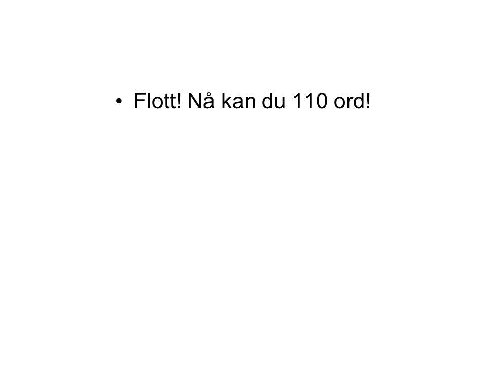 Flott! Nå kan du 110 ord!