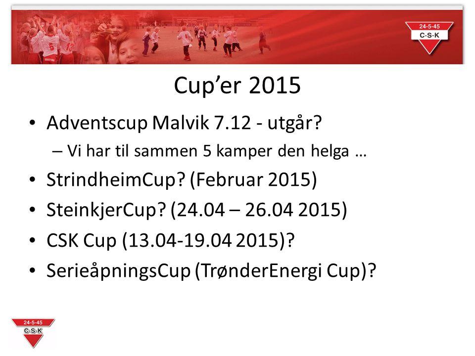 Cup'er 2015 Adventscup Malvik 7.12 - utgår. – Vi har til sammen 5 kamper den helga … StrindheimCup.