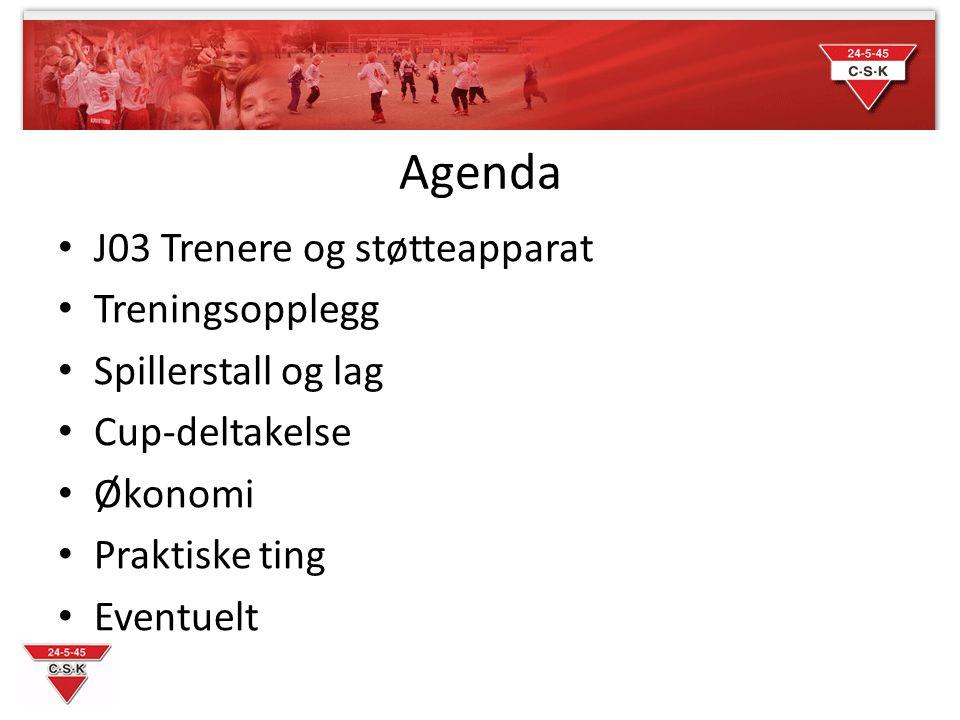 Agenda J03 Trenere og støtteapparat Treningsopplegg Spillerstall og lag Cup-deltakelse Økonomi Praktiske ting Eventuelt