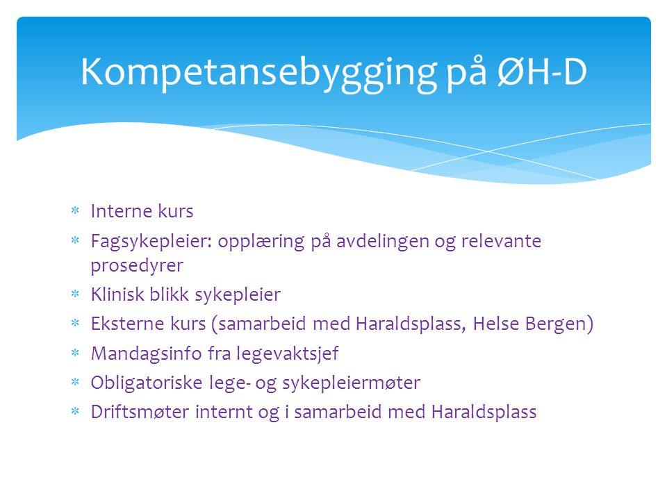  Interne kurs  Fagsykepleier: opplæring på avdelingen og relevante prosedyrer  Klinisk blikk sykepleier  Eksterne kurs (samarbeid med Haraldsplass