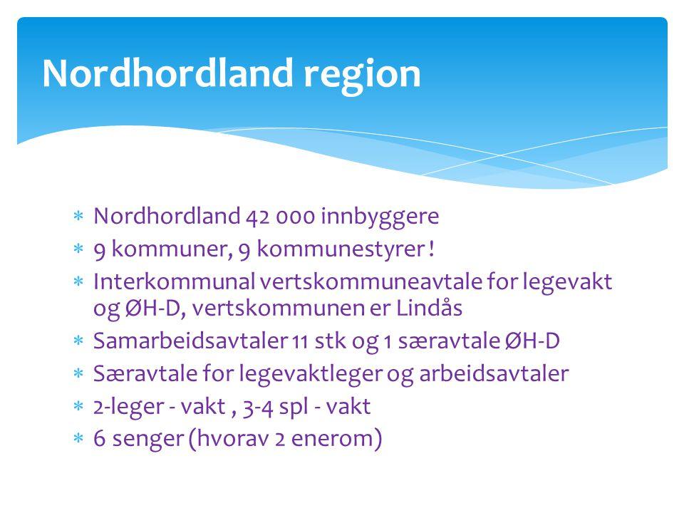 Nordhordland region  Nordhordland 42 000 innbyggere  9 kommuner, 9 kommunestyrer !  Interkommunal vertskommuneavtale for legevakt og ØH-D, vertskom