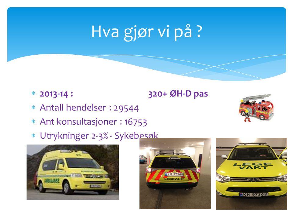 Hva gjør vi på ?  2013-14 :320+ ØH-D pas  Antall hendelser : 29544  Ant konsultasjoner : 16753  Utrykninger 2-3% - Sykebesøk