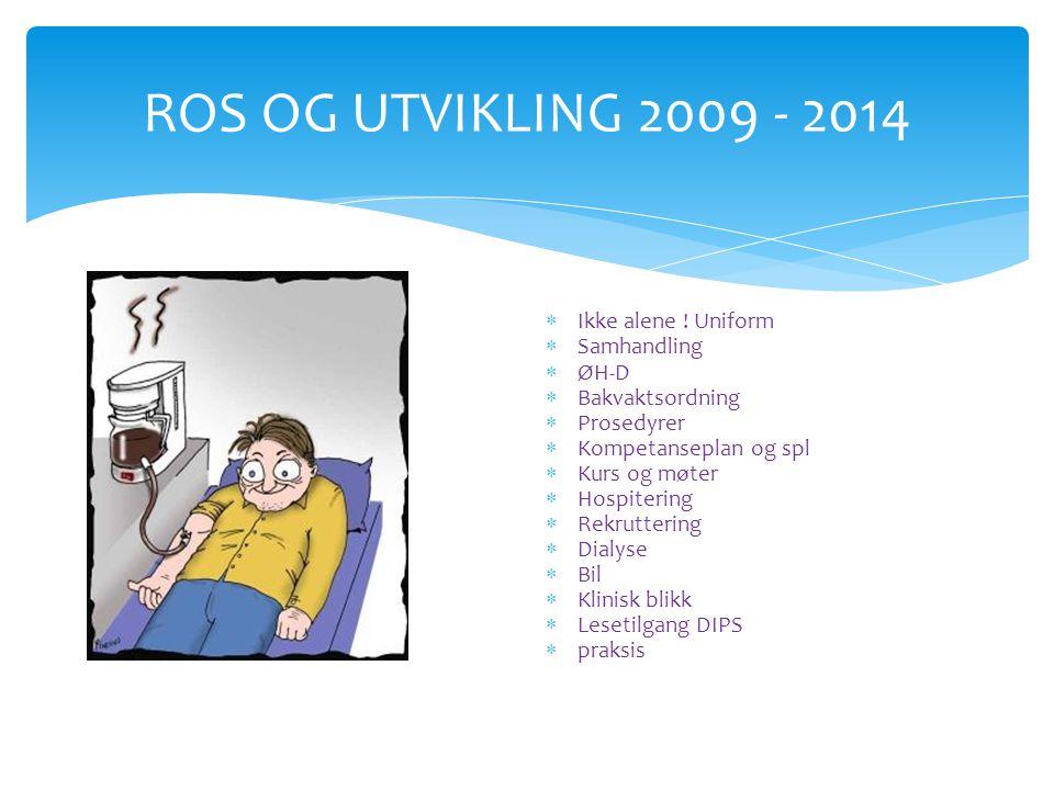 ROS OG UTVIKLING 2009 - 2014  Alene på vakt…  Er vi på bølgelengde….  Ikke alene ! Uniform  Samhandling  ØH-D  Bakvaktsordning  Prosedyrer  Ko
