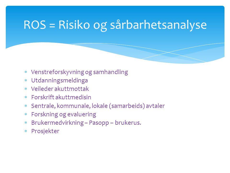 ROS = Risiko og sårbarhetsanalyse  Venstreforskyvning og samhandling  Utdanningsmeldinga  Veileder akuttmottak  Forskrift akuttmedisin  Sentrale,