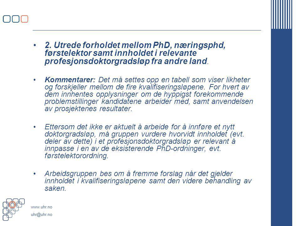 www.uhr.no uhr@uhr.no 2. Utrede forholdet mellom PhD, næringsphd, førstelektor samt innholdet i relevante profesjonsdoktorgradsløp fra andre land. Kom