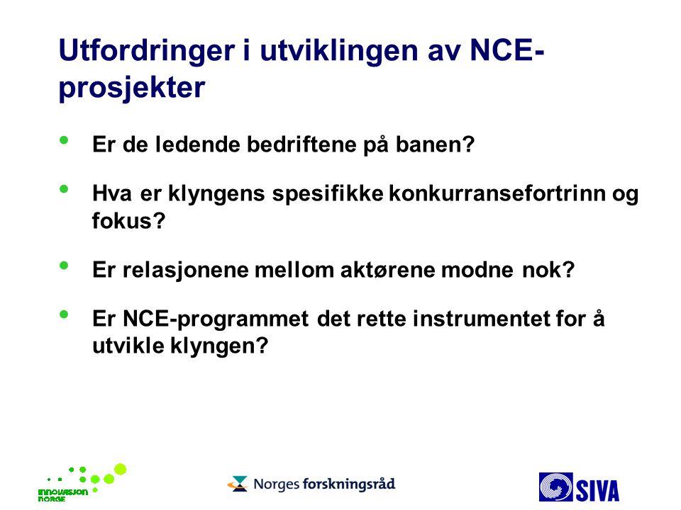 Utfordringer i utviklingen av NCE- prosjekter Er de ledende bedriftene på banen? Hva er klyngens spesifikke konkurransefortrinn og fokus? Er relasjone