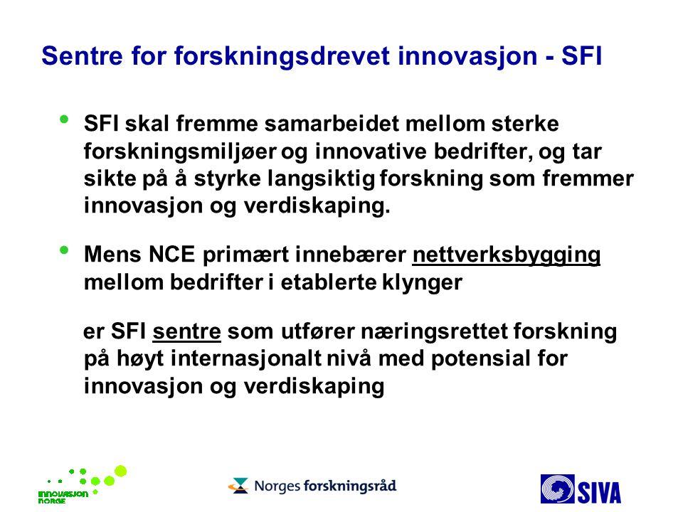 Sentre for forskningsdrevet innovasjon - SFI SFI skal fremme samarbeidet mellom sterke forskningsmiljøer og innovative bedrifter, og tar sikte på å st
