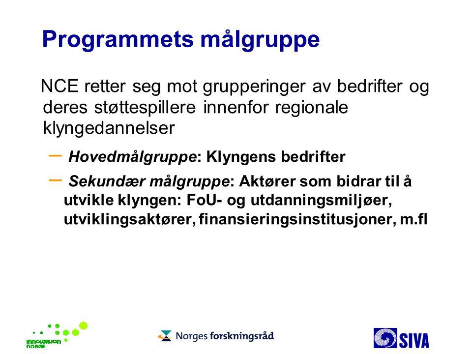 Programmets målgruppe NCE retter seg mot grupperinger av bedrifter og deres støttespillere innenfor regionale klyngedannelser – Hovedmålgruppe: Klynge