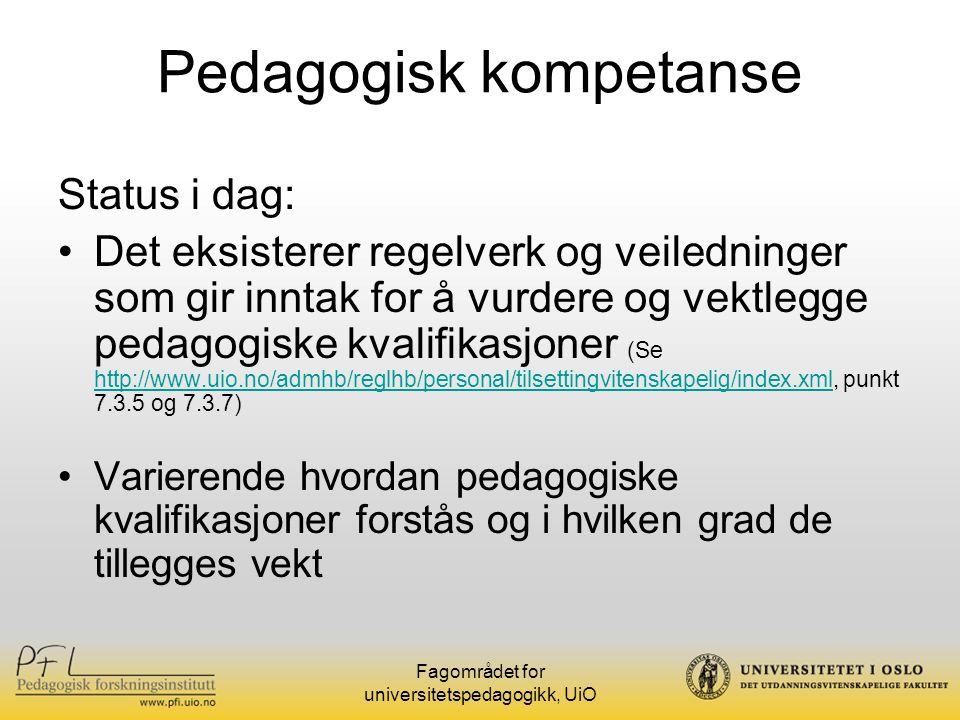 Fagområdet for universitetspedagogikk, UiO Hvem er stipendiatene.