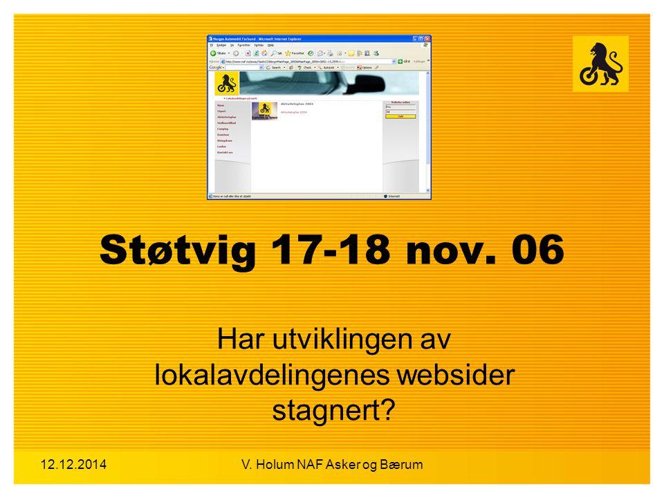 12.12.2014V. Holum NAF Asker og Bærum Støtvig 17-18 nov. 06 Har utviklingen av lokalavdelingenes websider stagnert?