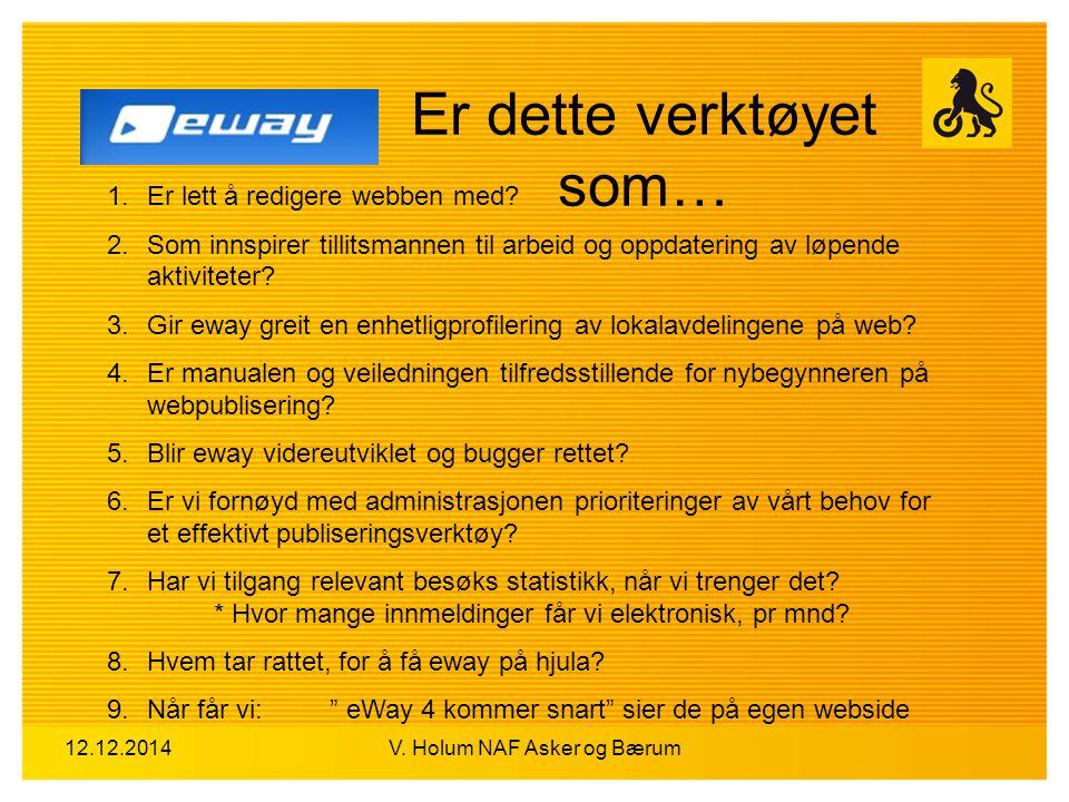 12.12.2014V. Holum NAF Asker og Bærum Er dette verktøyet som… 1.Er lett å redigere webben med? 2.Som innspirer tillitsmannen til arbeid og oppdatering