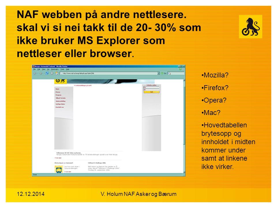 12.12.2014V. Holum NAF Asker og Bærum NAF webben på andre nettlesere. skal vi si nei takk til de 20- 30% som ikke bruker MS Explorer som nettleser ell