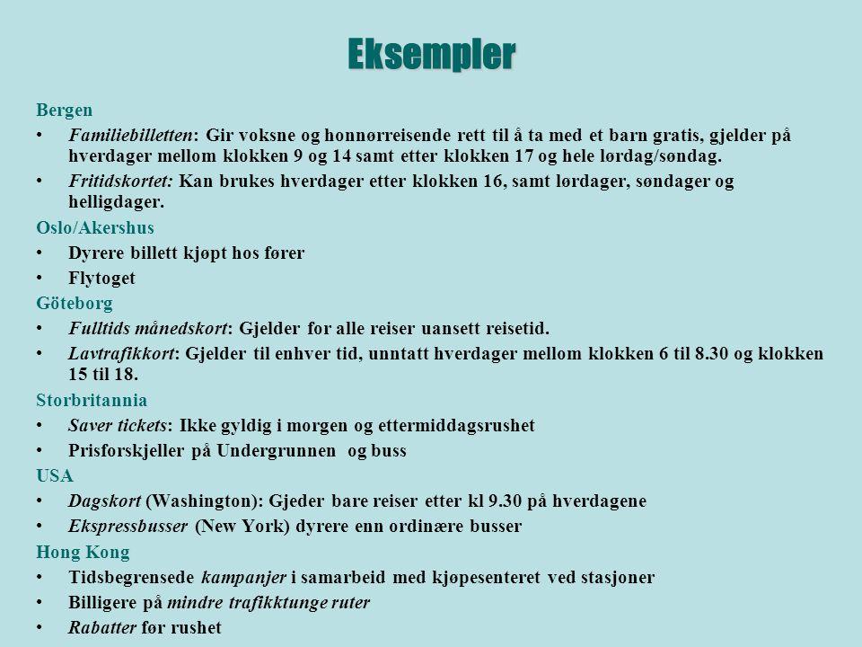 Eksempler Bergen Familiebilletten: Gir voksne og honnørreisende rett til å ta med et barn gratis, gjelder på hverdager mellom klokken 9 og 14 samt etter klokken 17 og hele lørdag/søndag.