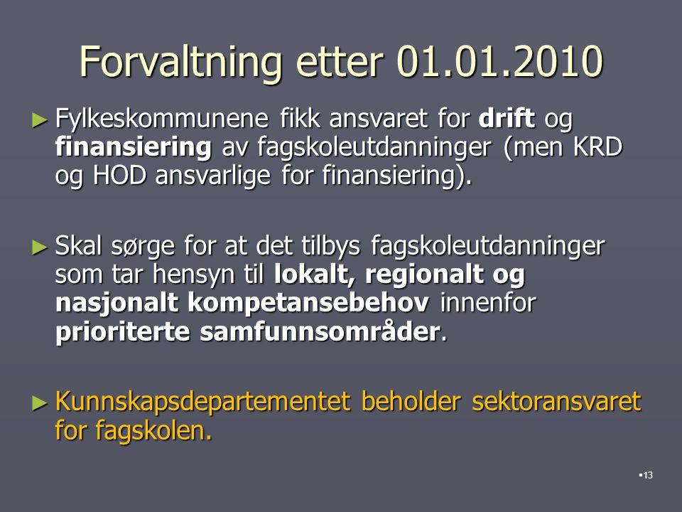 Forvaltning etter 01.01.2010 ► Fylkeskommunene fikk ansvaret for drift og finansiering av fagskoleutdanninger (men KRD og HOD ansvarlige for finansiering).