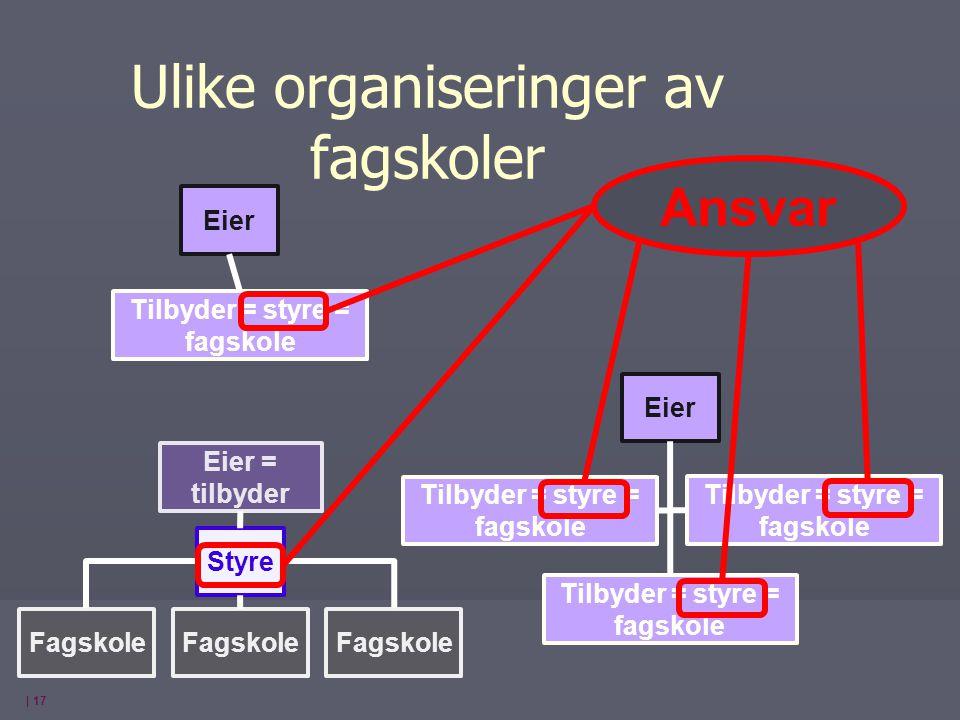 | 17 Eier = tilbyder Fagskole Styre Tilbyder = styre = fagskole Eier Tilbyder = styre = fagskole Ulike organiseringer av fagskoler Ansvar