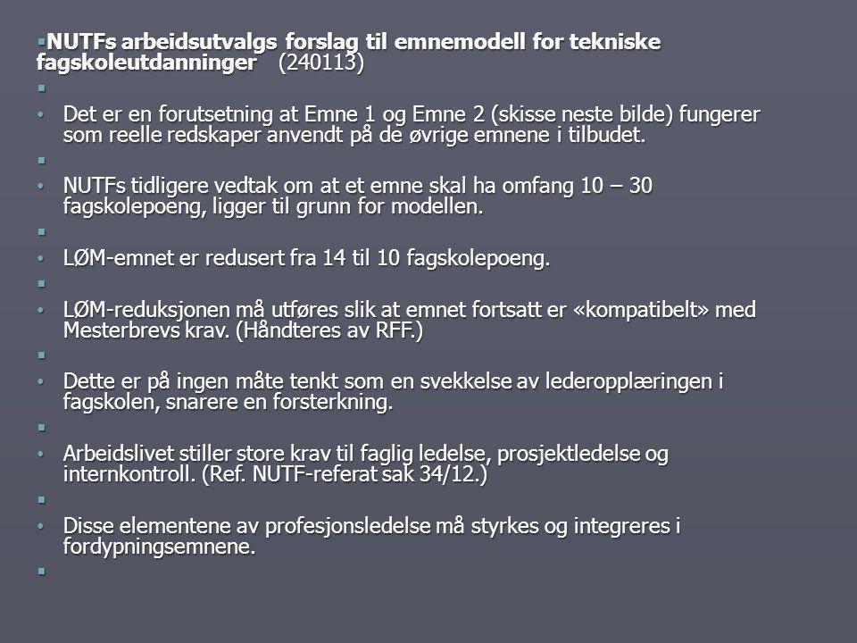  NUTFs arbeidsutvalgs forslag til emnemodell for tekniske fagskoleutdanninger (240113)  Det er en forutsetning at Emne 1 og Emne 2 (skisse neste bil