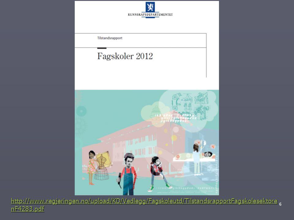 Tilstandsrapport for fagskolen 2012 ► 115 fagskoler ► 314 offentlige og ► 674 private fagskolestudier ► 83,6% stedbaserte tilbud.