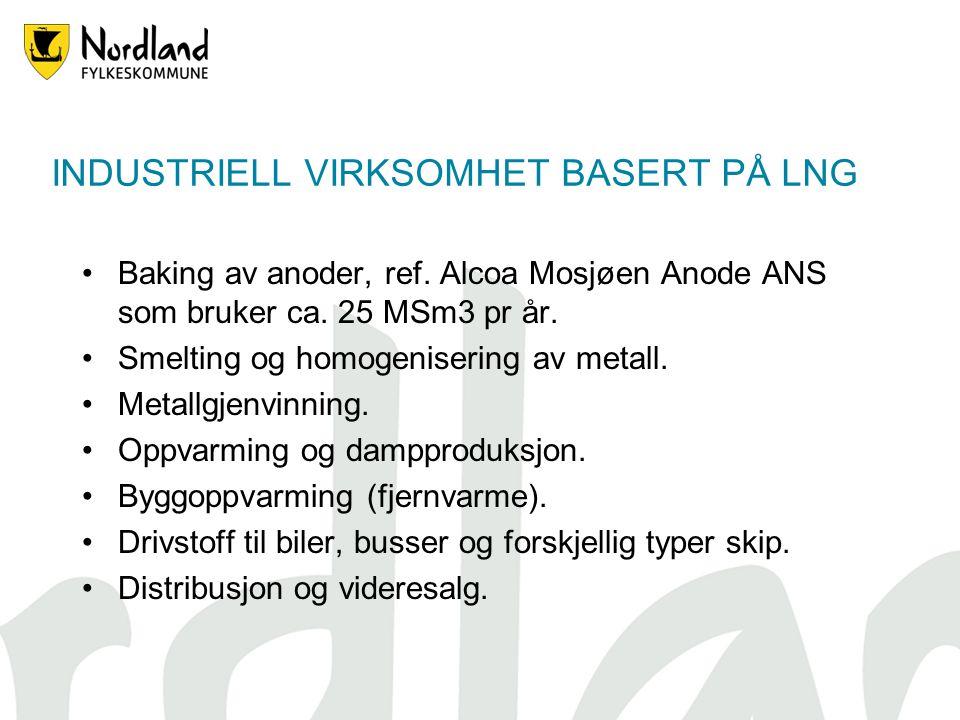 INDUSTRIELL VIRKSOMHET BASERT PÅ LNG Baking av anoder, ref. Alcoa Mosjøen Anode ANS som bruker ca. 25 MSm3 pr år. Smelting og homogenisering av metall