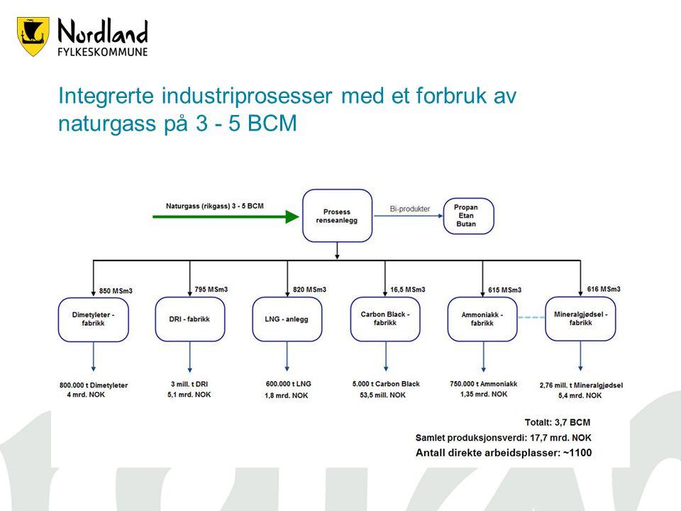 Integrerte industriprosesser med et forbruk av naturgass på 3 - 5 BCM