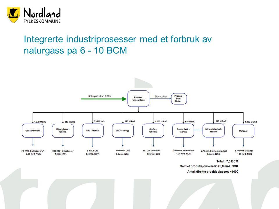 Integrerte industriprosesser med et forbruk av naturgass på 6 - 10 BCM