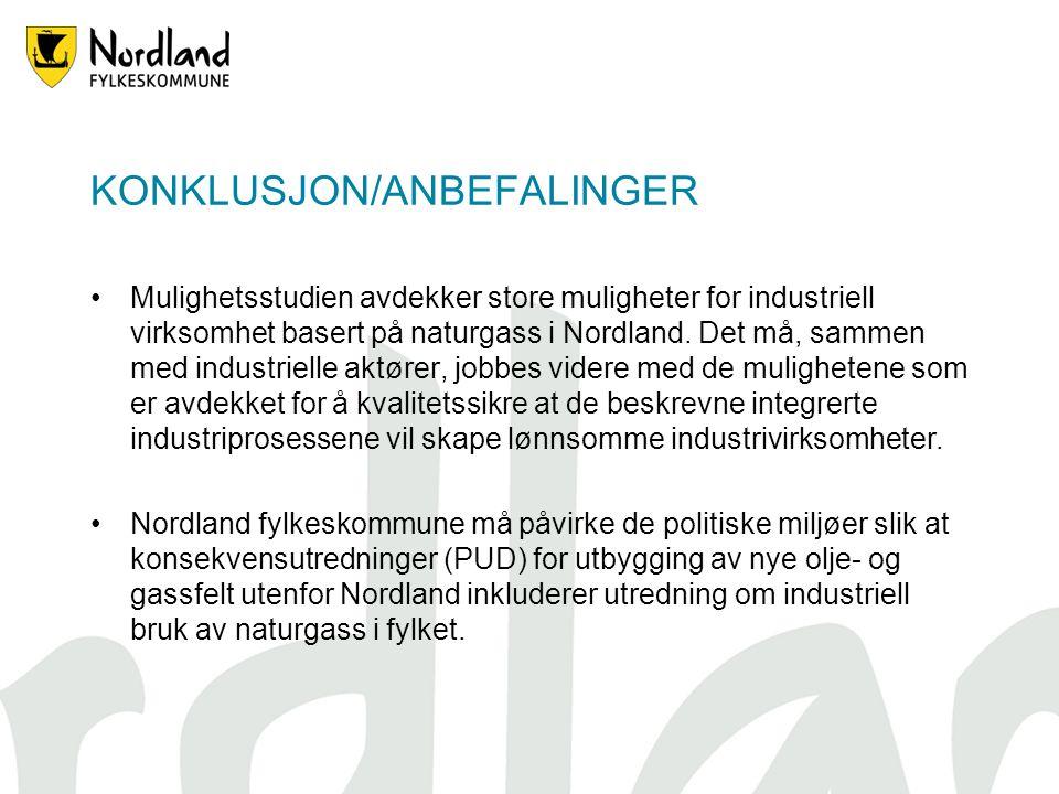 KONKLUSJON/ANBEFALINGER Mulighetsstudien avdekker store muligheter for industriell virksomhet basert på naturgass i Nordland.
