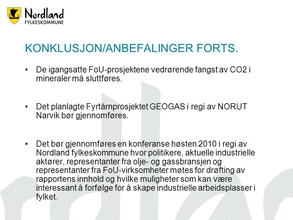 KONKLUSJON/ANBEFALINGER FORTS. De igangsatte FoU-prosjektene vedrørende fangst av CO2 i mineraler må sluttføres. Det planlagte Fyrtårnprosjektet GEOGA