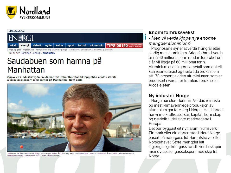 Aluminiumsproduksjon – En stor mulighet for Nord Norge Enorm forbruksvekst - Men vil verda kjøpa nye enorme mengder aluminium.