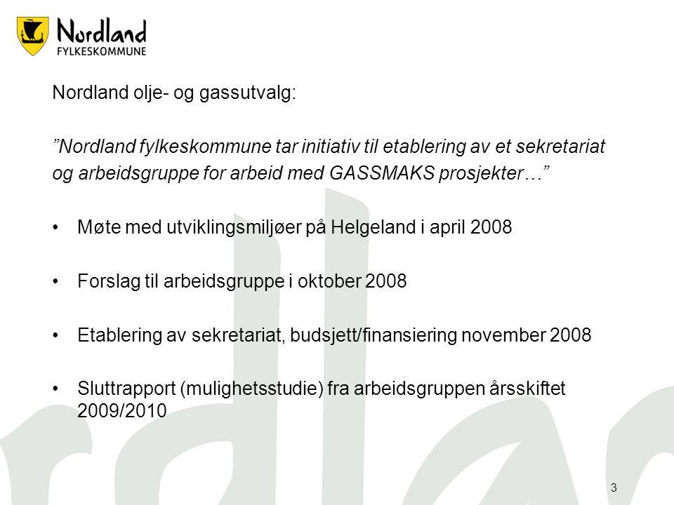 """3 Nordland olje- og gassutvalg: """"Nordland fylkeskommune tar initiativ til etablering av et sekretariat og arbeidsgruppe for arbeid med GASSMAKS prosje"""