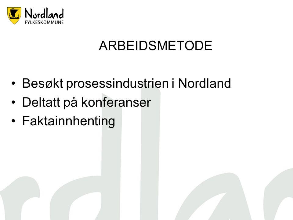 ARBEIDSMETODE Besøkt prosessindustrien i Nordland Deltatt på konferanser Faktainnhenting