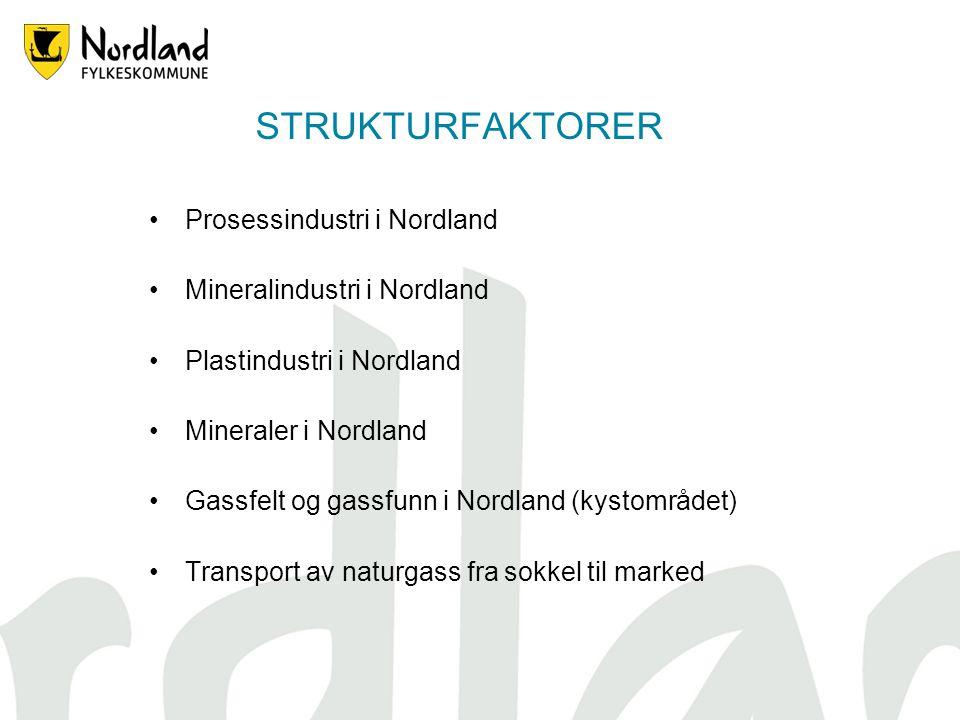 STRUKTURFAKTORER Prosessindustri i Nordland Mineralindustri i Nordland Plastindustri i Nordland Mineraler i Nordland Gassfelt og gassfunn i Nordland (kystområdet) Transport av naturgass fra sokkel til marked