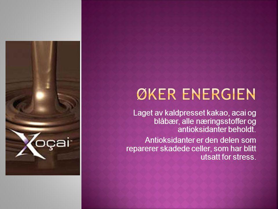 Laget av kaldpresset kakao, acai og blåbær, alle næringsstoffer og antioksidanter beholdt.