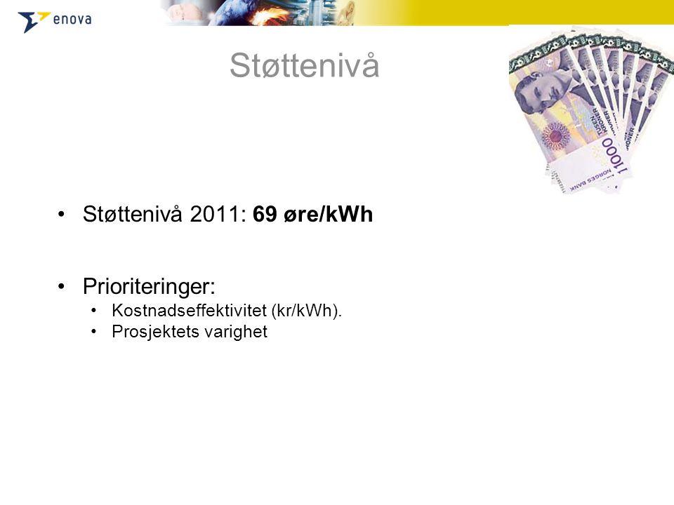 Støttenivå Støttenivå 2011: 69 øre/kWh Prioriteringer: Kostnadseffektivitet (kr/kWh). Prosjektets varighet