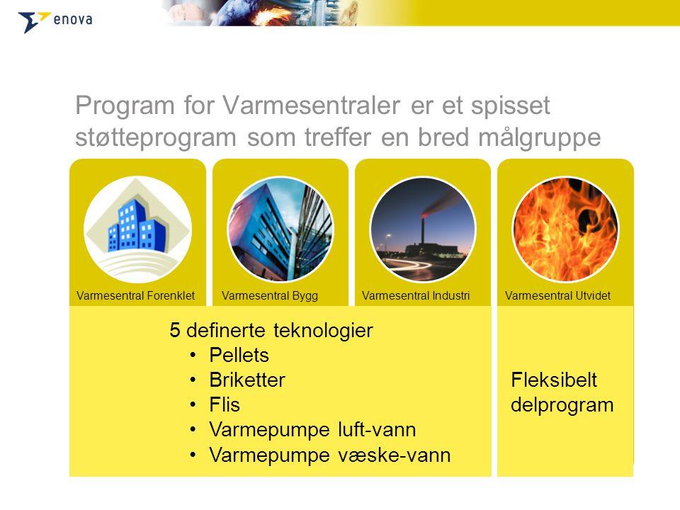 Varmesentral Forenklet Bygningsoppvarming og prosessvarme Målgruppe er mindre varmesentraler Mindre byggeiere Mindre industriselskaper Enkelt søknadss