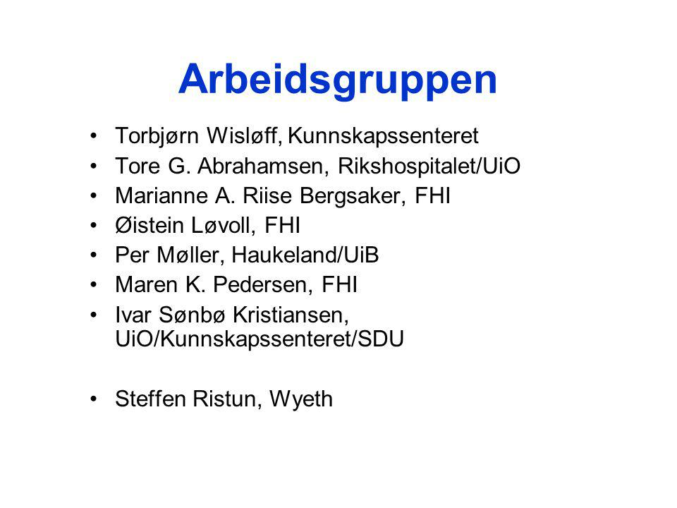 Arbeidsgruppen Torbjørn Wisløff, Kunnskapssenteret Tore G.