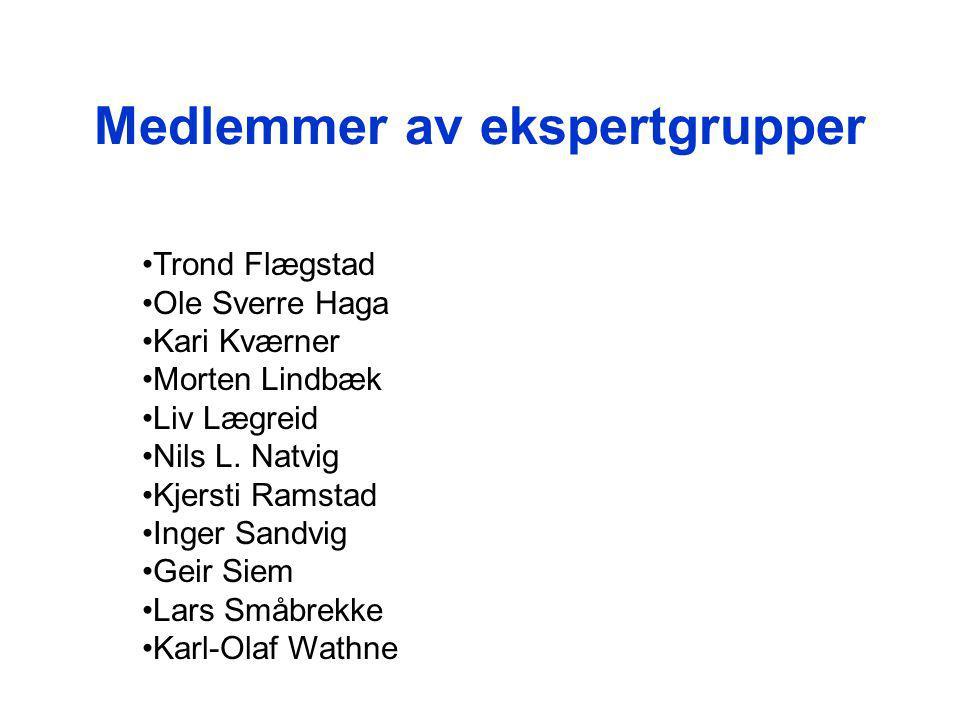 Medlemmer av ekspertgrupper Trond Flægstad Ole Sverre Haga Kari Kværner Morten Lindbæk Liv Lægreid Nils L.