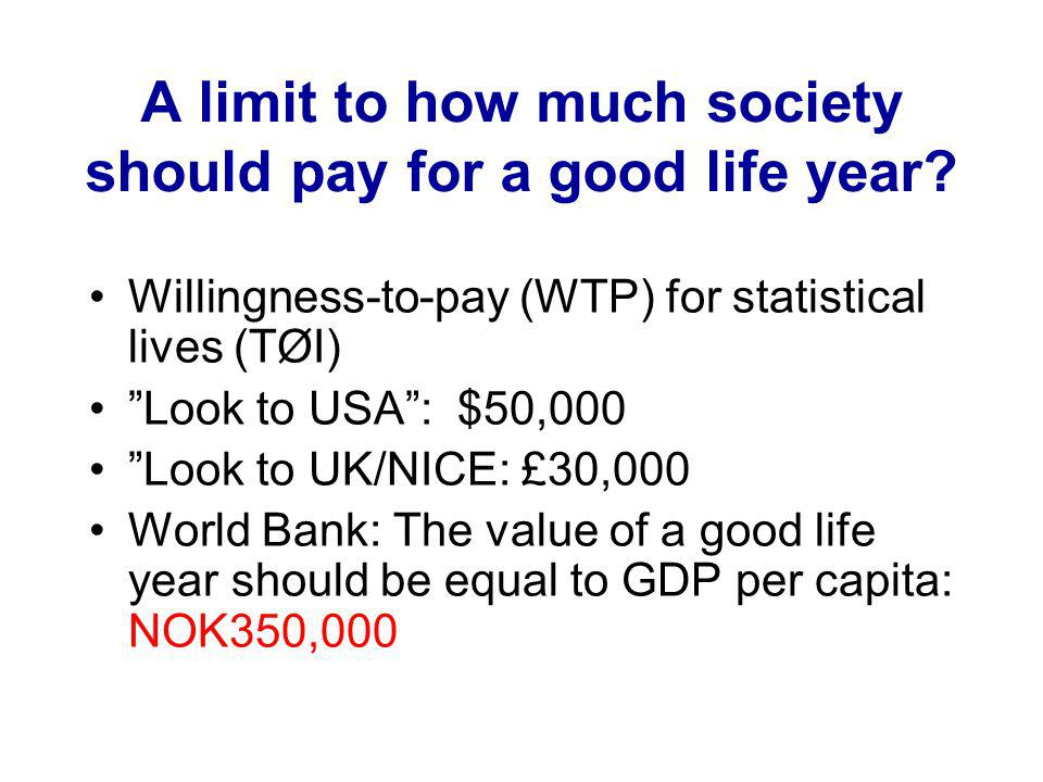 A limit to how much society should pay for a good life year.