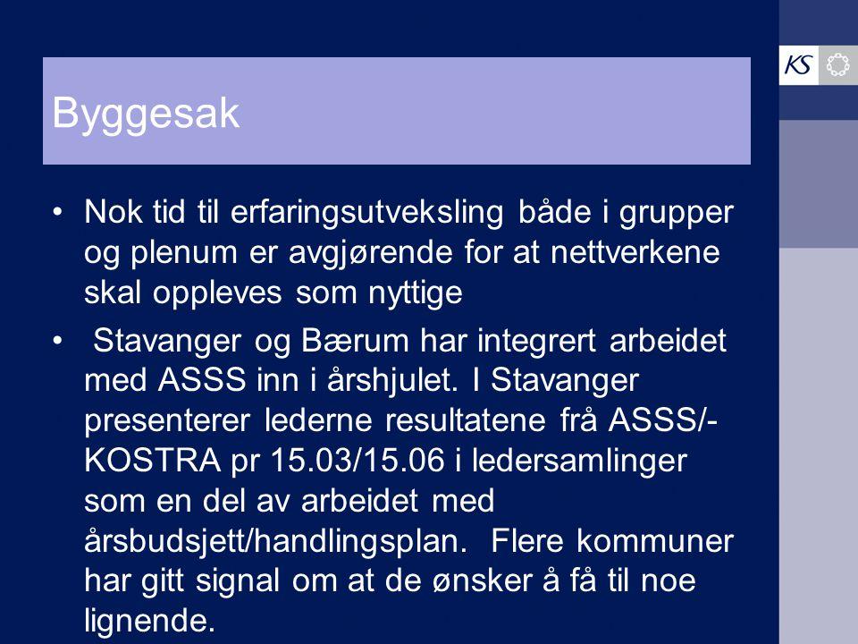 Byggesak Nok tid til erfaringsutveksling både i grupper og plenum er avgjørende for at nettverkene skal oppleves som nyttige Stavanger og Bærum har in