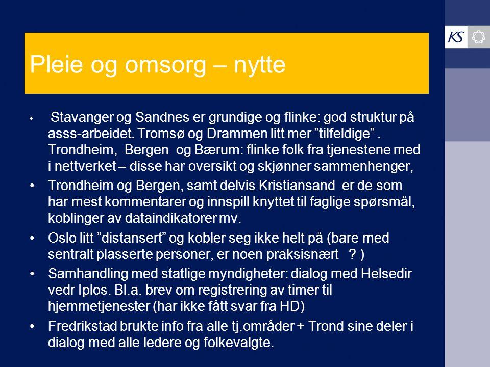 """Pleie og omsorg – nytte Stavanger og Sandnes er grundige og flinke: god struktur på asss-arbeidet. Tromsø og Drammen litt mer """"tilfeldige"""". Trondheim,"""
