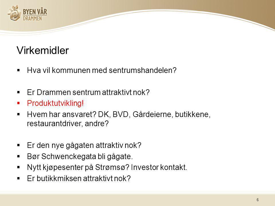 6 Virkemidler  Hva vil kommunen med sentrumshandelen?  Er Drammen sentrum attraktivt nok?  Produktutvikling!  Hvem har ansvaret? DK, BVD, Gårdeier