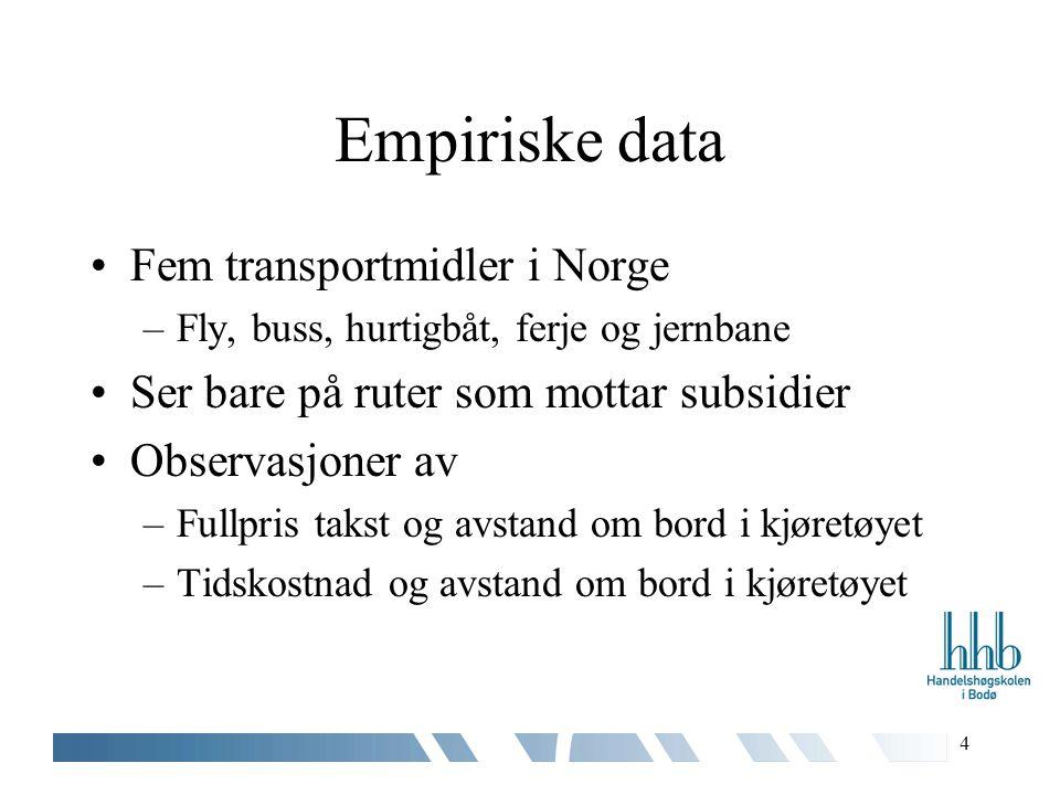 4 Empiriske data Fem transportmidler i Norge –Fly, buss, hurtigbåt, ferje og jernbane Ser bare på ruter som mottar subsidier Observasjoner av –Fullpris takst og avstand om bord i kjøretøyet –Tidskostnad og avstand om bord i kjøretøyet