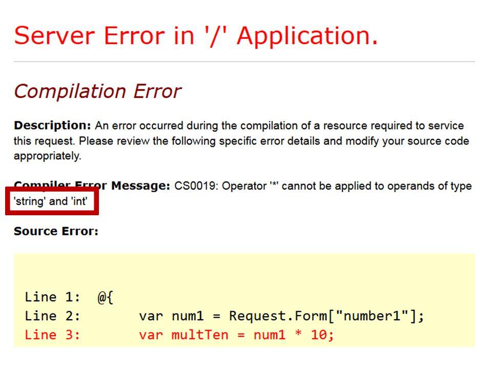 Konvertering af typer Problem: Vi har en tekststreng der egentlig er et tal, men det ved programmet ikke.