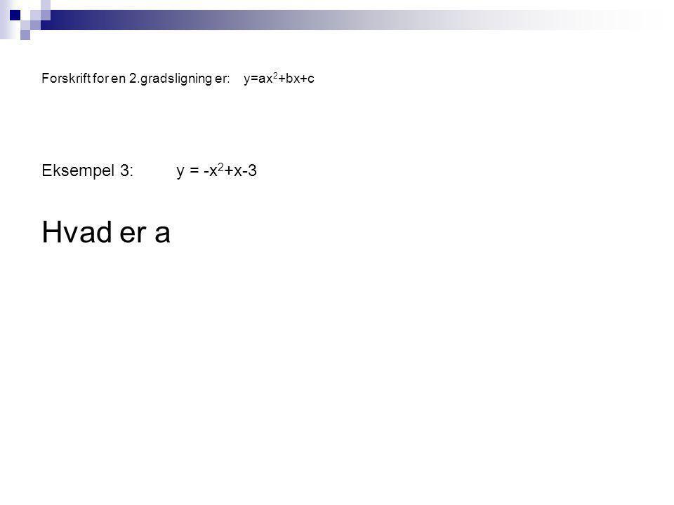Forskrift for en 2.gradsligning er:y=ax 2 +bx+c Eksempel 3:y = -x 2 +x-3 Hvad er a