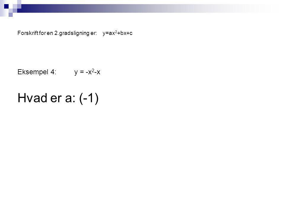 Forskrift for en 2.gradsligning er:y=ax 2 +bx+c Eksempel 4:y = -x 2 -x Hvad er a: (-1)