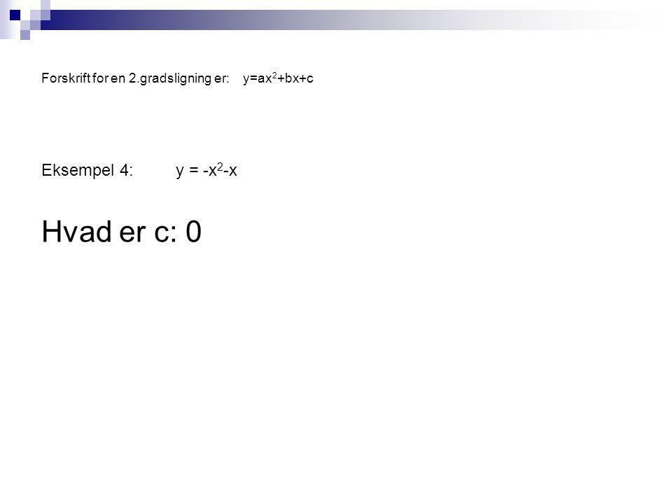 Forskrift for en 2.gradsligning er:y=ax 2 +bx+c Eksempel 4:y = -x 2 -x Hvad er c: 0