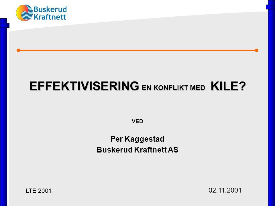 EFFEKTIVISERING EN KONFLIKT MED KILE? VED Per Kaggestad Buskerud Kraftnett AS LTE 2001 02.11.2001