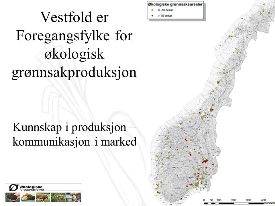 Vestfold er Foregangsfylke for økologisk grønnsakproduksjon Kunnskap i produksjon – kommunikasjon i marked