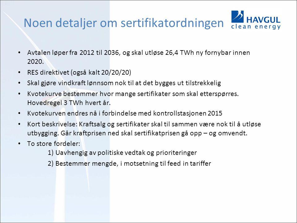 Noen detaljer om sertifikatordningen Avtalen løper fra 2012 til 2036, og skal utløse 26,4 TWh ny fornybar innen 2020. RES direktivet (også kalt 20/20/