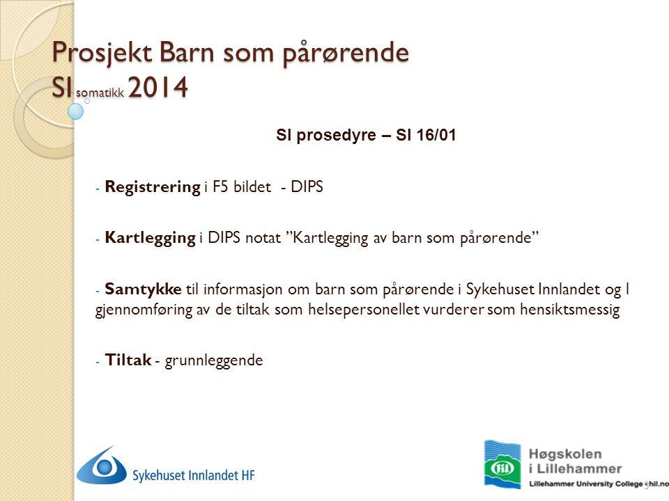 """Prosjekt Barn som pårørende SI somatikk 2014 SI prosedyre – SI 16/01 - Registrering i F5 bildet - DIPS - Kartlegging i DIPS notat """"Kartlegging av barn"""